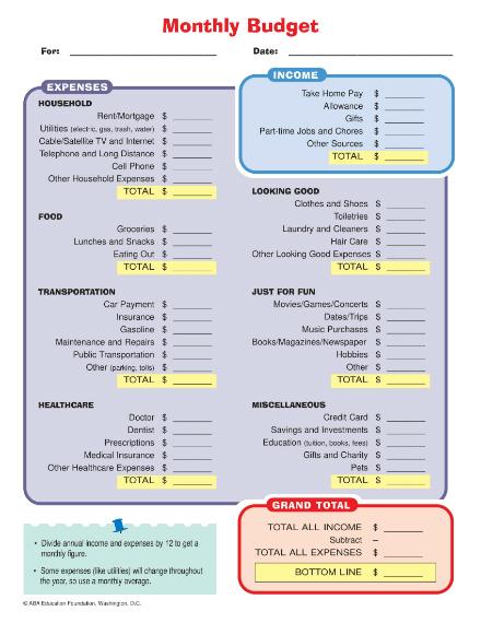 household monthyl budget worksheet