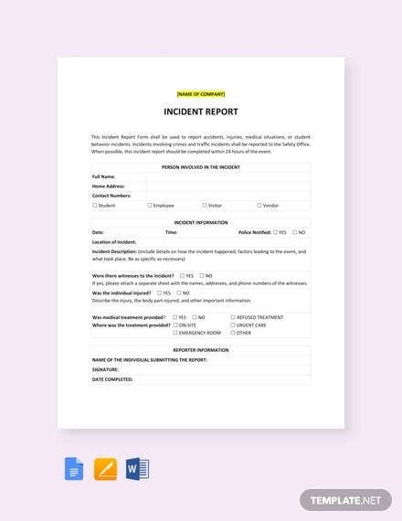 incident report template