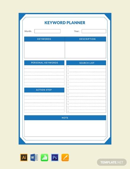 keyword planner template