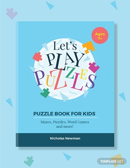 kids puzzle book cover template in word