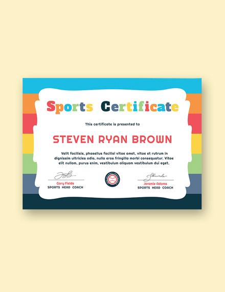 kids sport award certificate