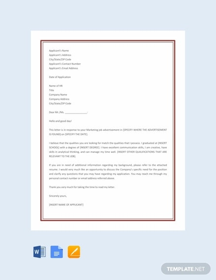 marketing job application letter template