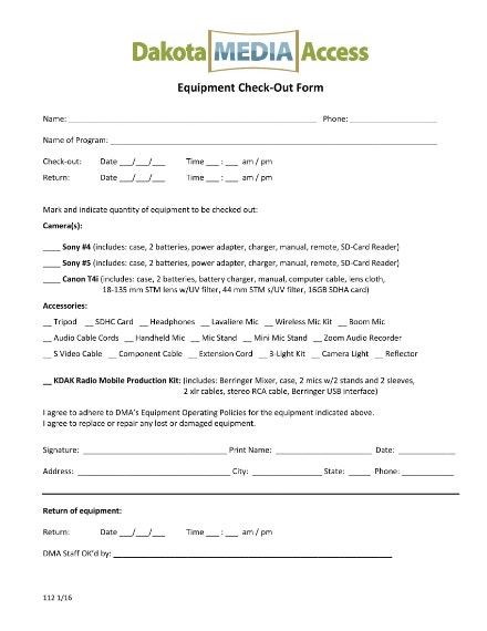 media equipment checkout sheet example