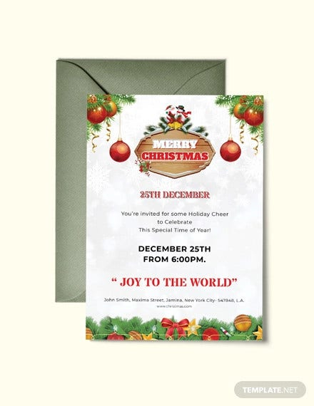 merry christmas invitation flyer template