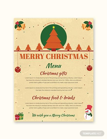 merry christmas menu template