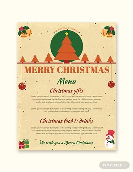 merry christmas menu template1