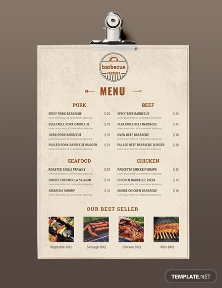 minimal bbq factory menu template
