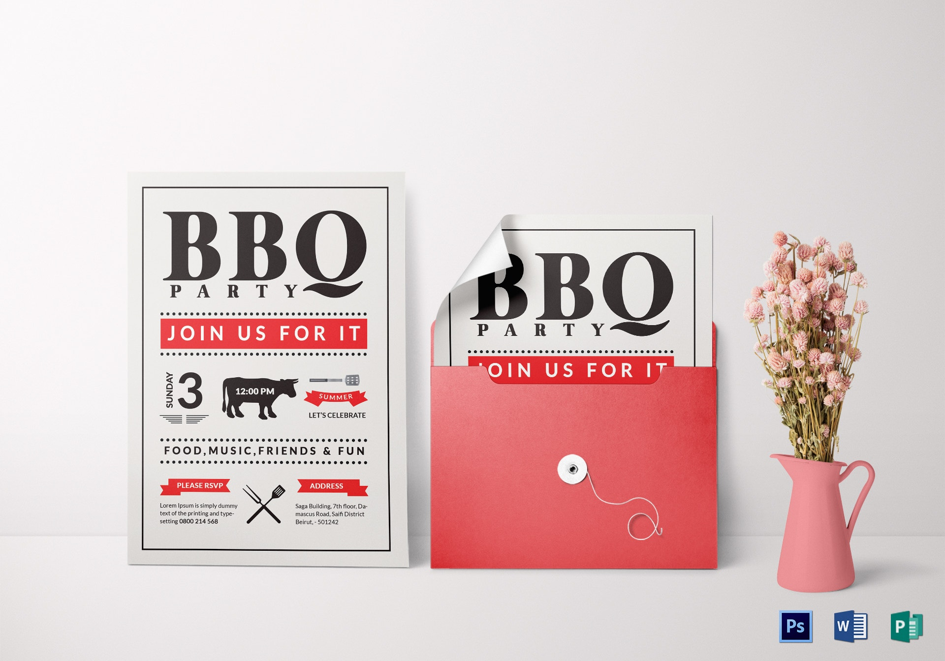 minimal barbecue party invitation format