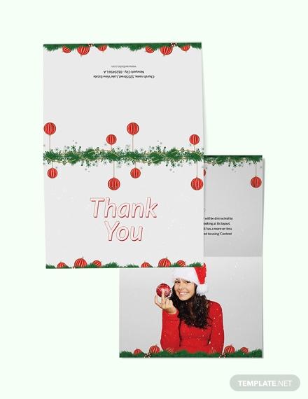 minimal christmas thank you card template