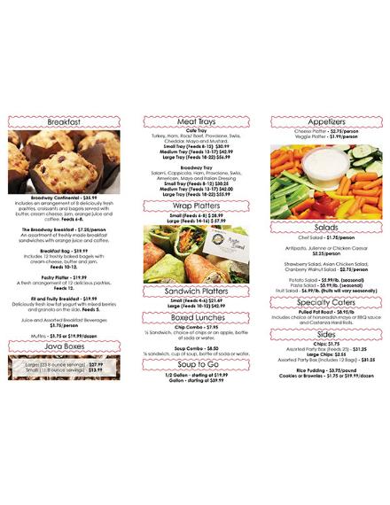 minimal food catering menu design