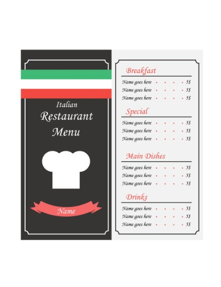 minimal italian food menu format