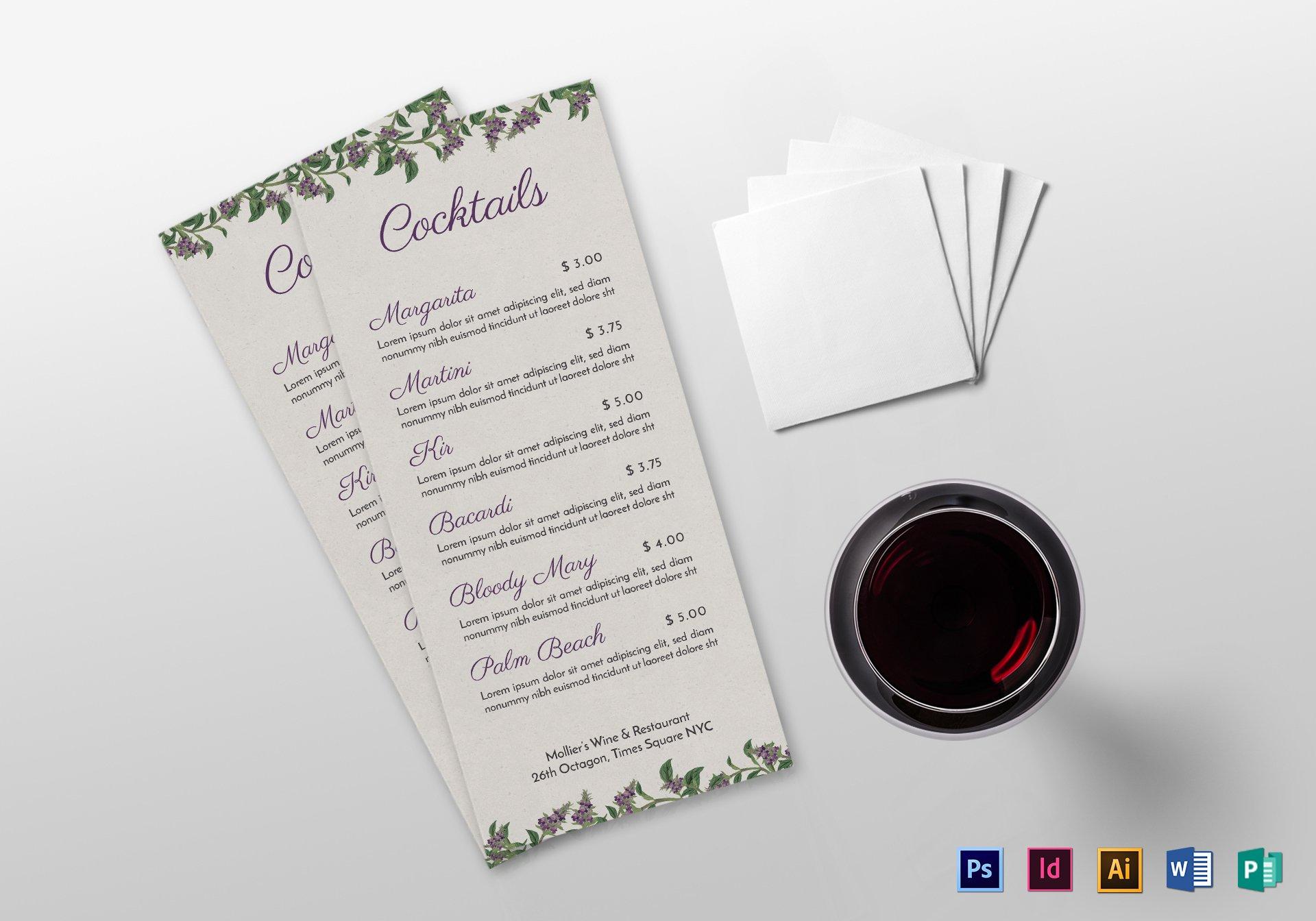 minimal script cocktail menu sample