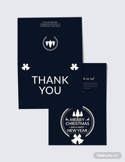 modern christmas and new year thank you card template