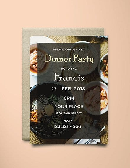 modern dinner party invitation template