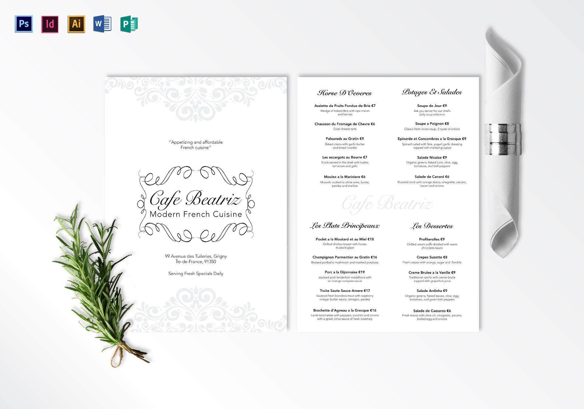 modern french menu template
