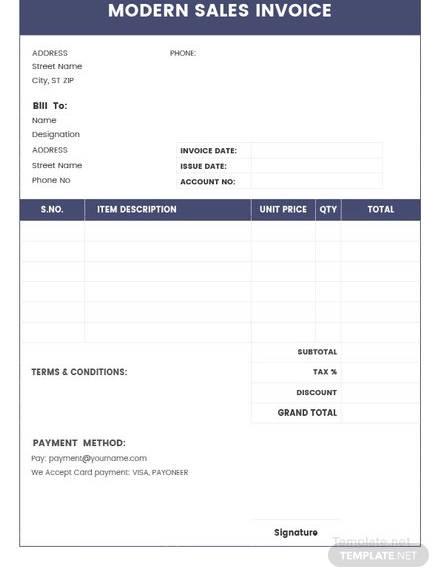 modern sales invoice template