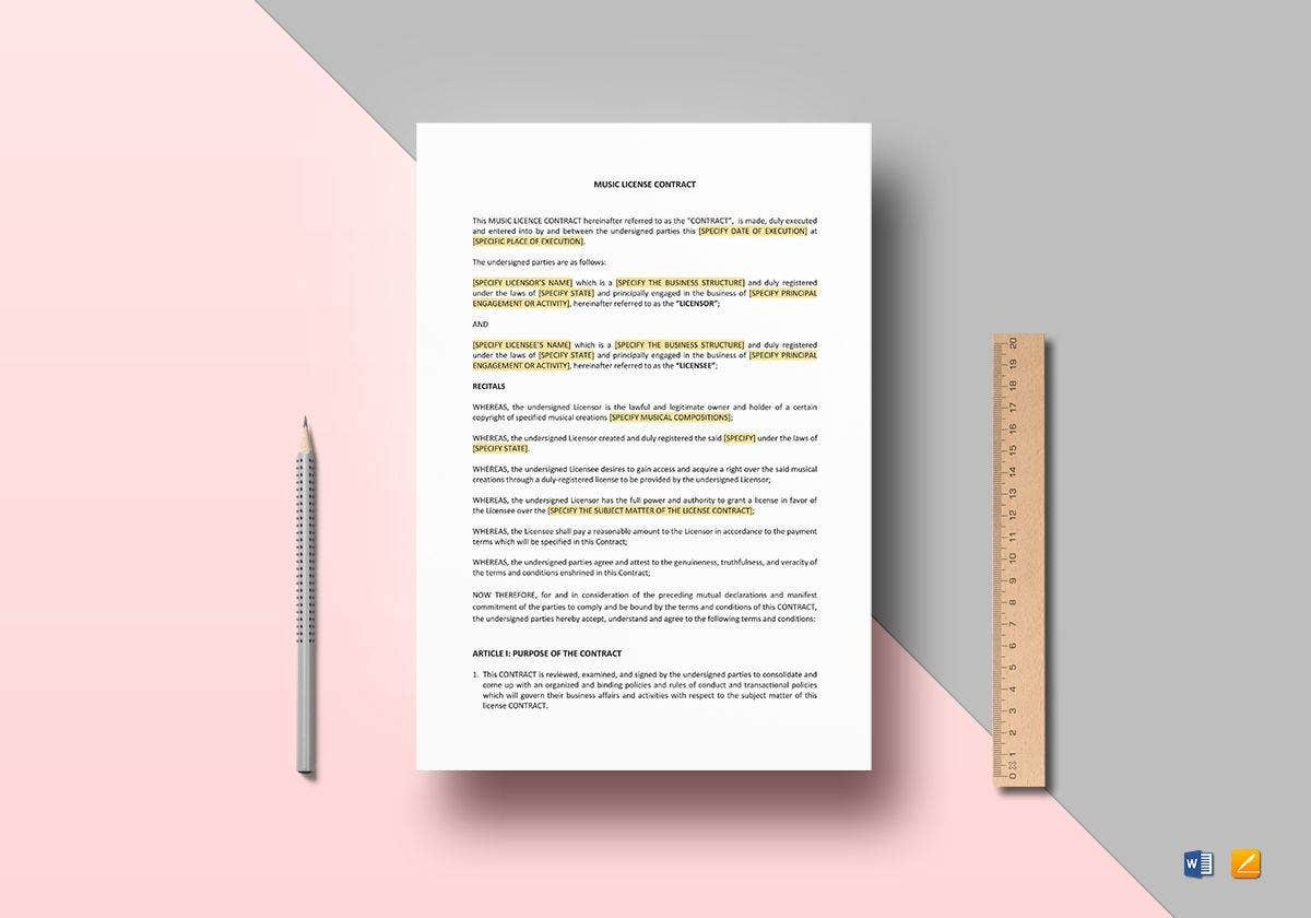 music license contract template1