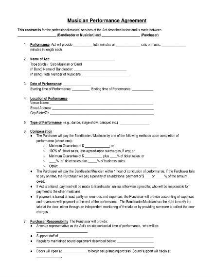 musician performance agreement 1