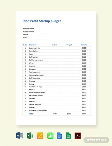 non profit startup budget template