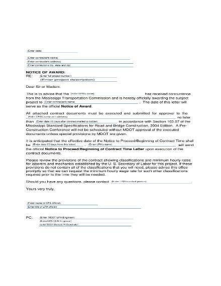 Notice-of-Contract-Award-Sample Letter Awarding Contract Template on