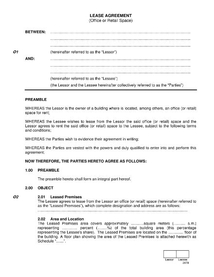8 Office Lease Agreement Templates Free Premium Templates