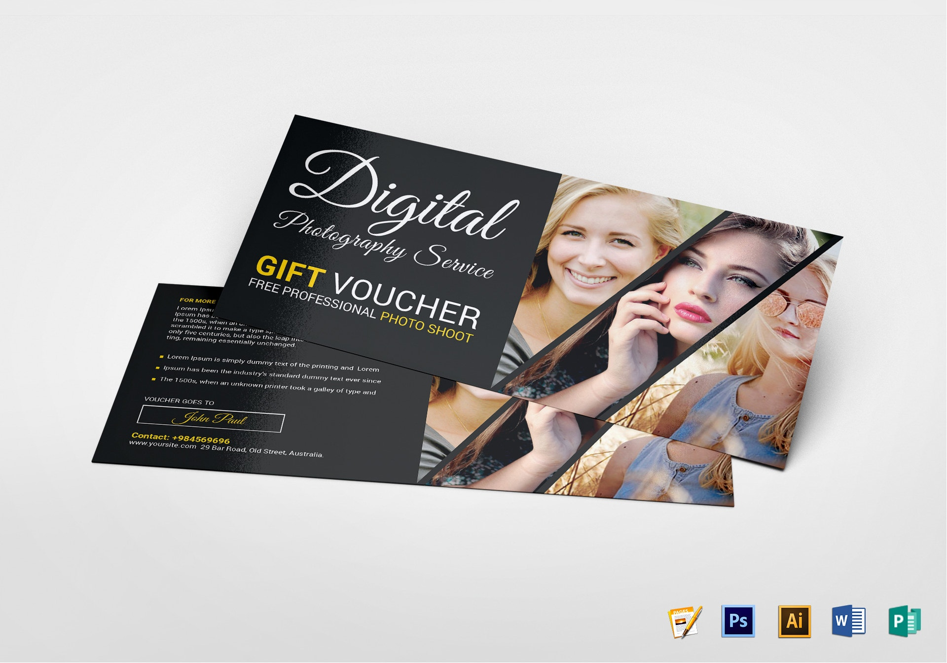 photo session gift voucher template