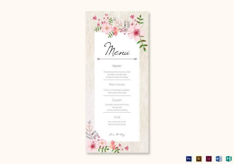 pink floral wedding menu card template 788x552