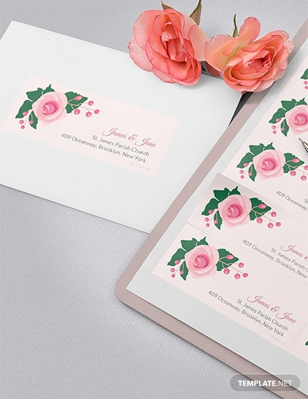 pink wedding address label template