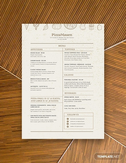 pizza menu templates 1x