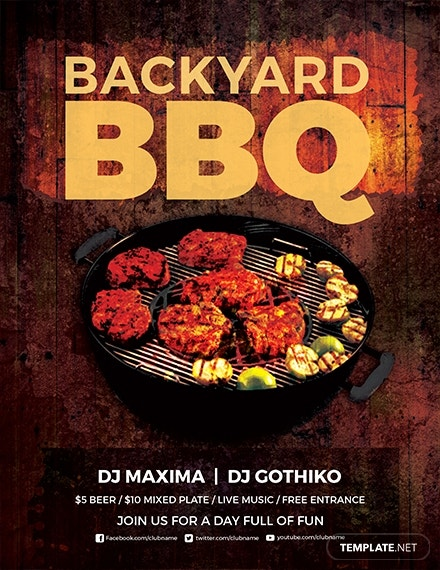 premium backyard bbq party flyer template