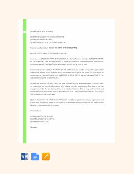 Recommendation Letter For Preschool Teacher from images.template.net