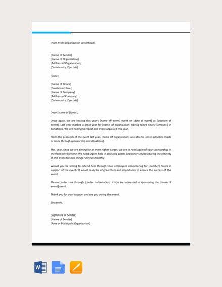 professional sponsorship letter template