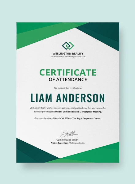 program attendance certificate