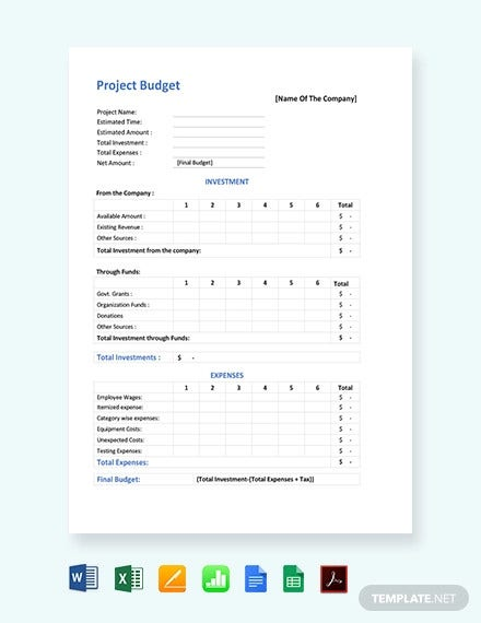 10 Project Budget Templates Word Pdf Excel Free Premium Templates