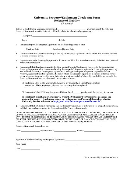 property and equipment checkout sheet
