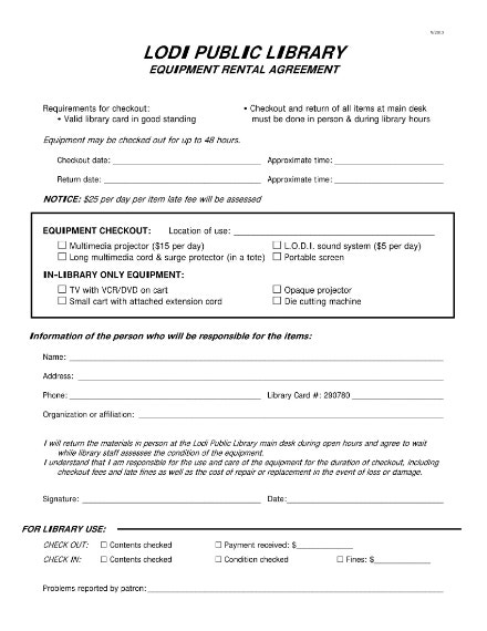 public library equipment checkout sheet