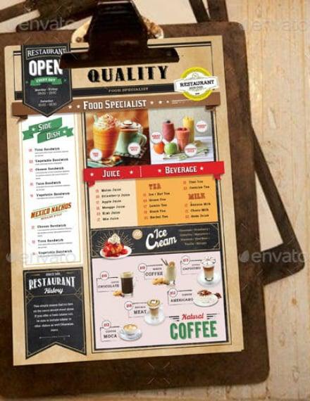 quality cafe food menu sample