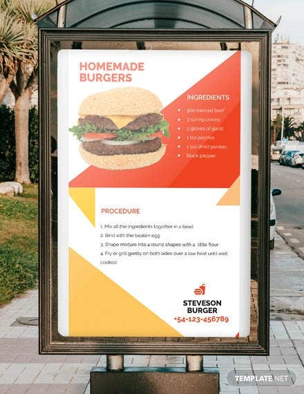 recipe digital signage template