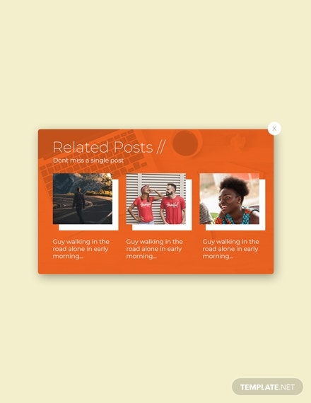 related posts pop up marketing template in psd