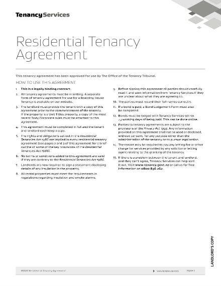 residential tenancy agreement example