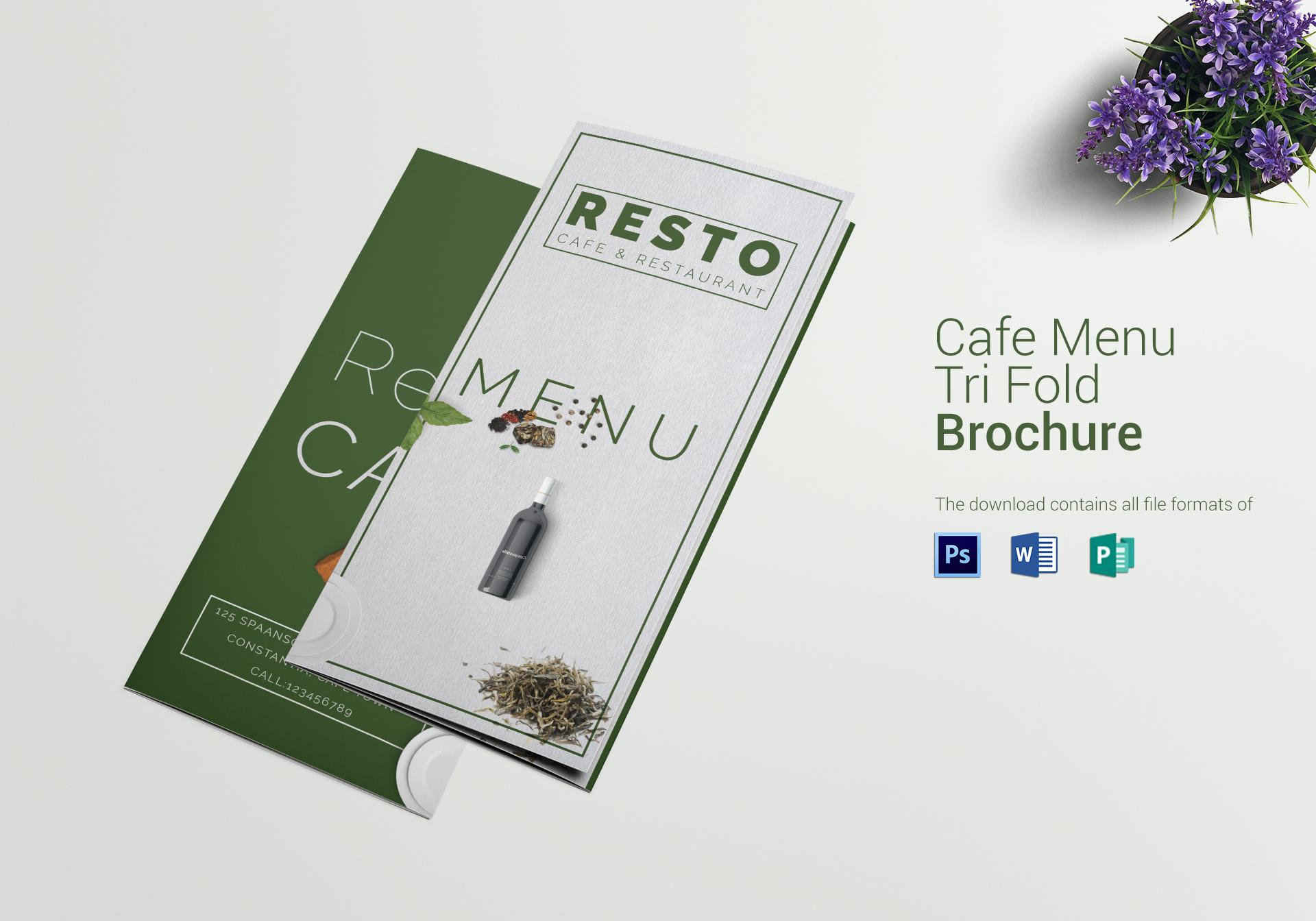 restaurant cafe food menu format