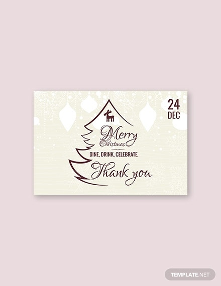 restaurant christmas thank you card template