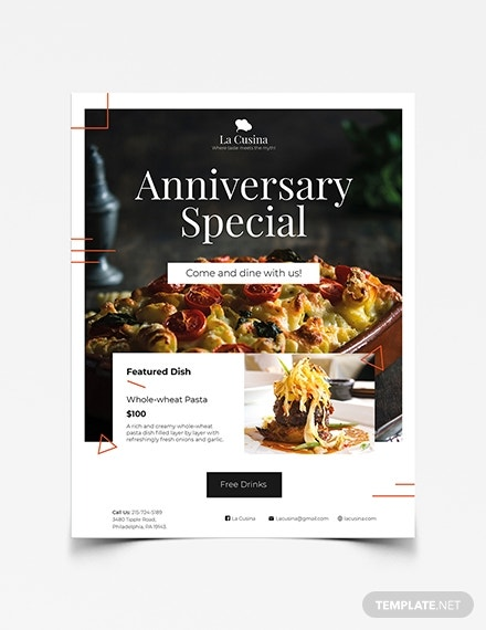 restaurant flyer illustrator template