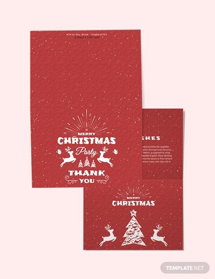 retro christmas thank you card template