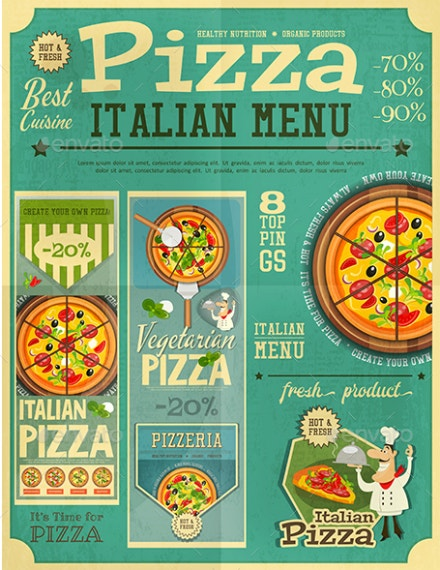 retro italian pizza menu design