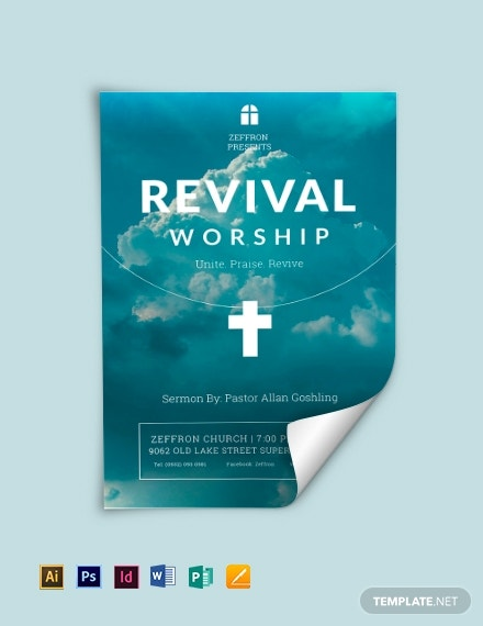 revival flyer template in publisher