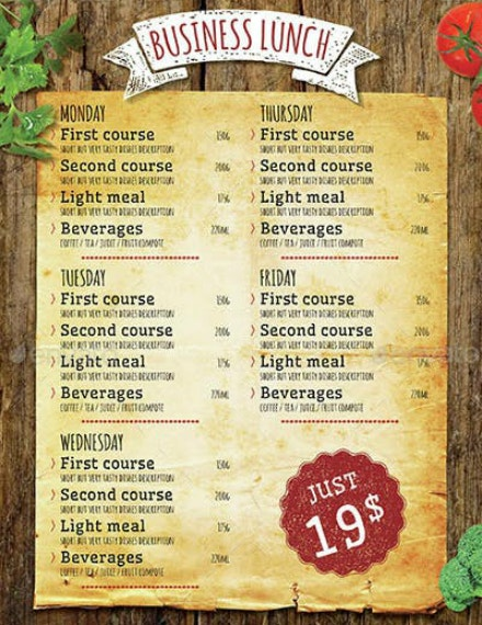 rustic business lunch menu example