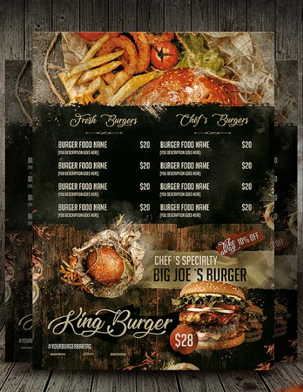 rustic king burger menu design