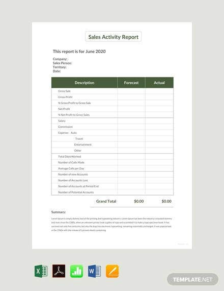 sales activity report sample