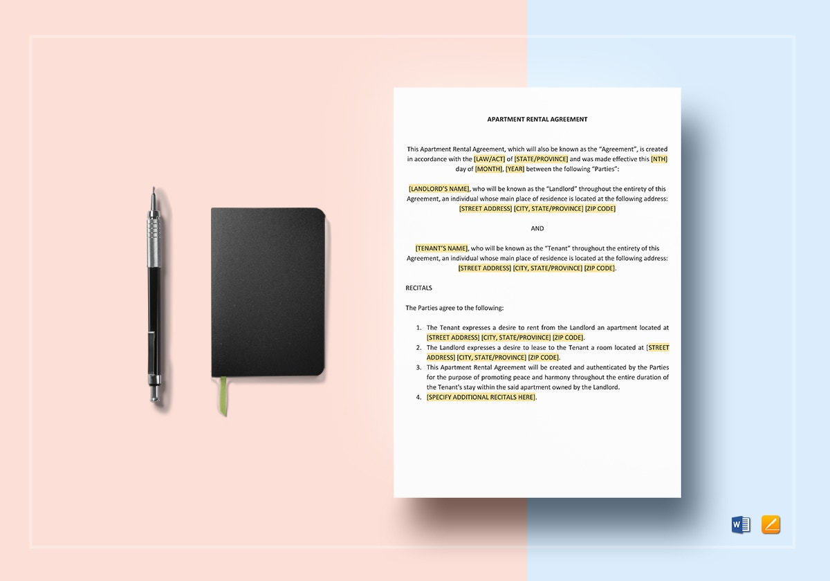sample apartment rental agreement template1